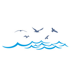 Sea landscape with seagulls vector