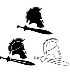 set ancient helmets with swords vector image