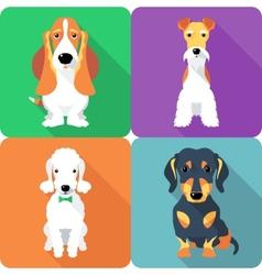 Set dogs icon flat design vector