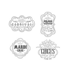 Set of black and white emblems for circus vector