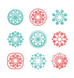 Set round logos snowflakes logotypes vector