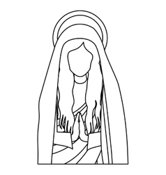 silhouette half body saint virgin mary praying vector image