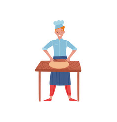 smiling baker rolling dough on wooden kitchen vector image