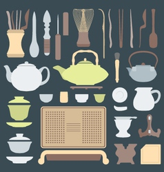 Solid colors tea ceremony equipment set vector