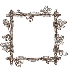 square frame of oak branches with leaves vector image