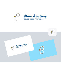 stethoscope logotype with business card template vector image