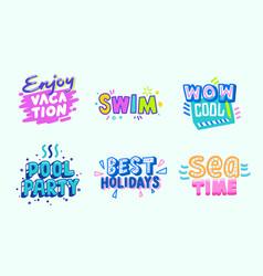 Summer beach vacation tropical banner design set vector