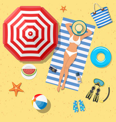 summer holidays on beach with sunbathing girl vector image