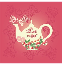 Teapot with rose hip vector