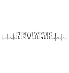 text new year one line line heartbeat vector image