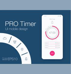 timer application ui design concept stock vector image
