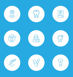 Tooth icons line style set with dentist woman vector
