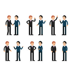 two businessmen talking characters vector image