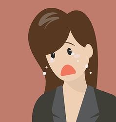 Unhappy woman crying vector