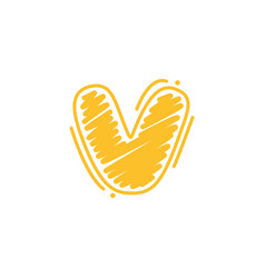 V letter logo in childish wax crayons scribbles vector