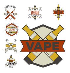 vaping e-cigarette emblems vintage vector image