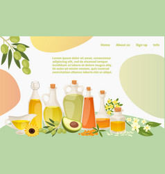 various healthy oil landing web page concept vector image