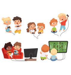 video games kids console gaming children playing vector image