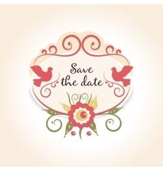Vintage wedding badge with floral decoration A vector