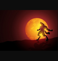 Werewolf howling during the full moon vector