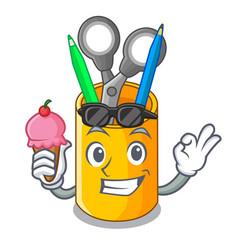 with ice cream school organizer desktop vector image