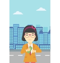Woman putting money in pocket vector