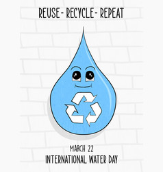 World water day card sustainable recycle and reuse vector