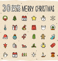 30 Colorful Merry Christmas Icons vector image vector image