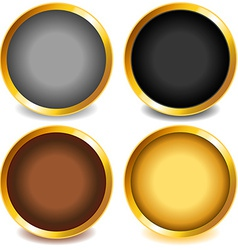 Colorful buttons with gold bevel-set3 vector image vector image