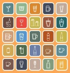 Drink line flat icons on orange background vector image vector image