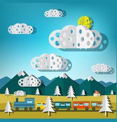 train on landscape flat design paper cut nature vector image vector image