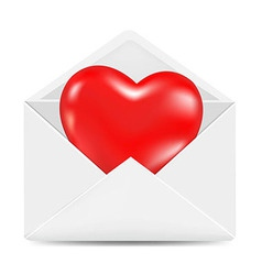 White Envelope With Red Heart vector image