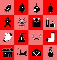 Christmas black icons on red background vector image