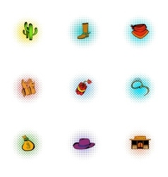 Cowboys of Wild West icons set pop-art style vector image vector image