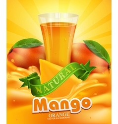 mango and glass of juice slices of mango vector image vector image