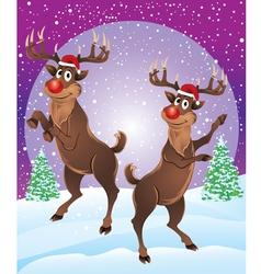 Rudolph The Reindeer Enjoying Snowfall vector image vector image