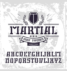 Stencil plate serif font in military style vector image vector image
