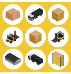 Warehouse icon set Icometric vector image