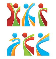 active and sportive abstract people vector image vector image