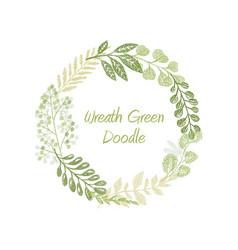 green doodle circle wreath vector image vector image