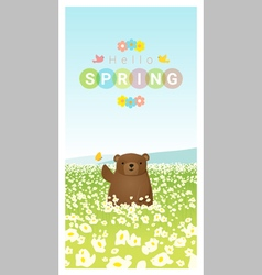 Hello spring landscape background with bear 2 vector image vector image