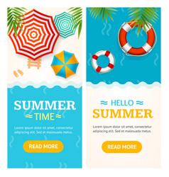 hello summer time banner vecrtical set vector image vector image