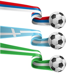 nigeria greek and russian flag with soccer ball vector image vector image