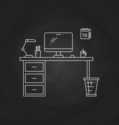 office work place with table computer lamp vector image