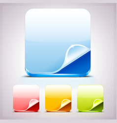 Set of Four App Icons Backgrounds with curl corner vector image
