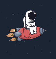 cute astronaut sits on rocket vector image vector image