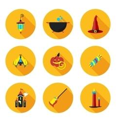 flat icons of Halloween vector image