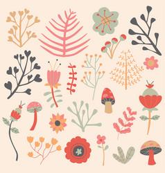 flowers autumn editable collection set vector image