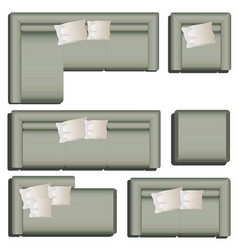 furniture top view for interior vector image vector image