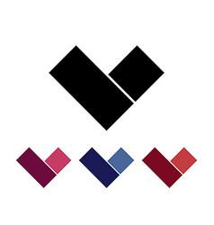 Letter V logo set Design element Isolated on white vector image